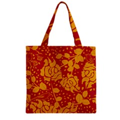 Floral Wallpaper Hot Red Zipper Grocery Tote Bags