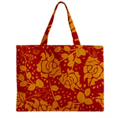 Floral Wallpaper Hot Red Zipper Tiny Tote Bags