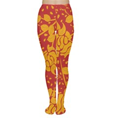 Floral Wallpaper Hot Red Women s Tights