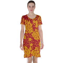 Floral Wallpaper Hot Red Short Sleeve Nightdresses