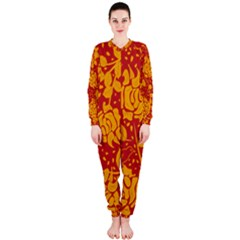 Floral Wallpaper Hot Red OnePiece Jumpsuit (Ladies)