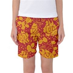 Floral Wallpaper Hot Red Women s Basketball Shorts