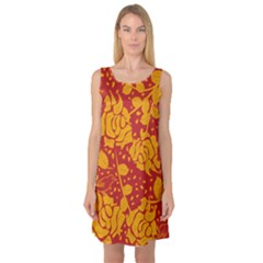 Floral Wallpaper Hot Red Sleeveless Satin Nightdresses