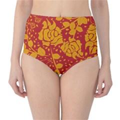 Floral Wallpaper Hot Red High Waist Bikini Bottoms