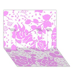 Floral Wallpaper Pink I Love You 3d Greeting Card (7x5)
