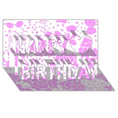 Floral Wallpaper Pink Happy Birthday 3D Greeting Card (8x4)