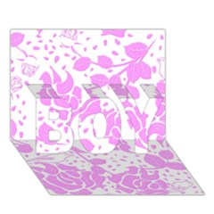 Floral Wallpaper Pink Boy 3d Greeting Card (7x5)