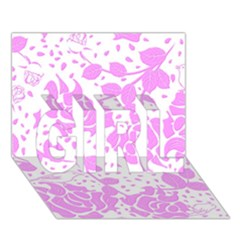 Floral Wallpaper Pink Girl 3d Greeting Card (7x5)