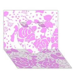 Floral Wallpaper Pink Heart 3d Greeting Card (7x5)