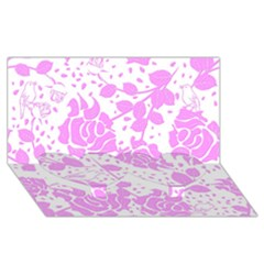 Floral Wallpaper Pink Twin Heart Bottom 3d Greeting Card (8x4)
