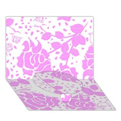 Floral Wallpaper Pink Circle Bottom 3D Greeting Card (7x5)