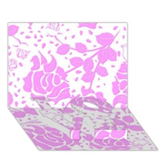 Floral Wallpaper Pink LOVE Bottom 3D Greeting Card (7x5)