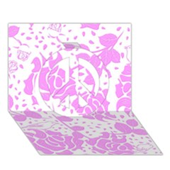 Floral Wallpaper Pink Peace Sign 3d Greeting Card (7x5)