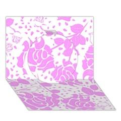 Floral Wallpaper Pink Circle 3D Greeting Card (7x5)