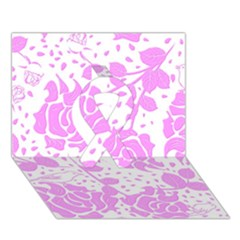 Floral Wallpaper Pink Ribbon 3D Greeting Card (7x5)