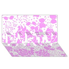 Floral Wallpaper Pink PARTY 3D Greeting Card (8x4)