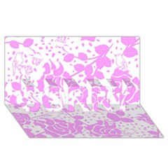 Floral Wallpaper Pink Sorry 3d Greeting Card (8x4)