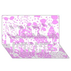 Floral Wallpaper Pink Best Wish 3D Greeting Card (8x4)