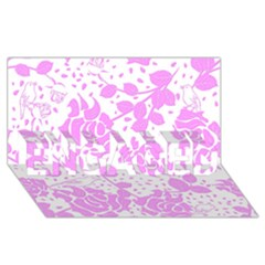 Floral Wallpaper Pink ENGAGED 3D Greeting Card (8x4)