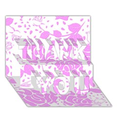 Floral Wallpaper Pink THANK YOU 3D Greeting Card (7x5)