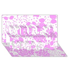 Floral Wallpaper Pink Merry Xmas 3d Greeting Card (8x4)
