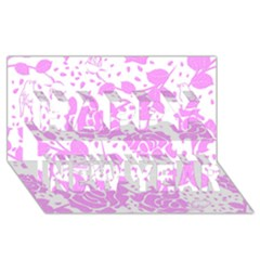Floral Wallpaper Pink Happy New Year 3D Greeting Card (8x4)