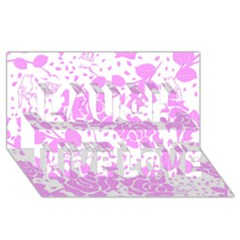 Floral Wallpaper Pink Laugh Live Love 3d Greeting Card (8x4)