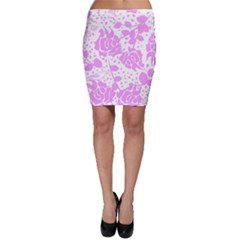 Floral Wallpaper Pink Bodycon Skirts