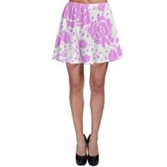 Floral Wallpaper Pink Skater Skirts