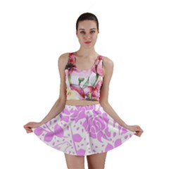 Floral Wallpaper Pink Mini Skirts