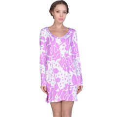 Floral Wallpaper Pink Long Sleeve Nightdresses