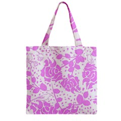 Floral Wallpaper Pink Zipper Grocery Tote Bags