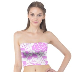 Floral Wallpaper Pink Women s Tube Tops