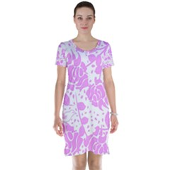 Floral Wallpaper Pink Short Sleeve Nightdresses