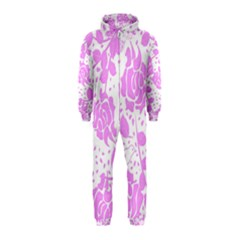 Floral Wallpaper Pink Hooded Jumpsuit (Kids)