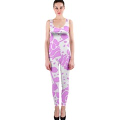 Floral Wallpaper Pink OnePiece Catsuits