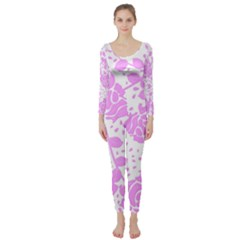 Floral Wallpaper Pink Long Sleeve Catsuit