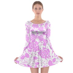 Floral Wallpaper Pink Long Sleeve Skater Dress