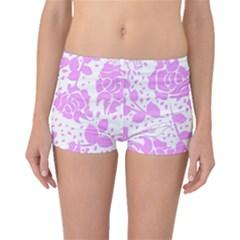 Floral Wallpaper Pink Boyleg Bikini Bottoms