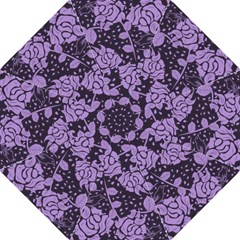 Floral Wallpaper Purple Hook Handle Umbrellas (Large)