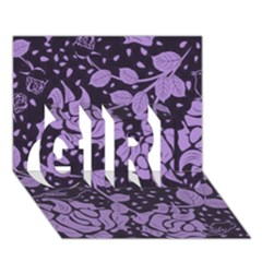 Floral Wallpaper Purple GIRL 3D Greeting Card (7x5)