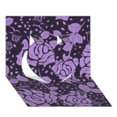 Floral Wallpaper Purple Heart 3D Greeting Card (7x5)