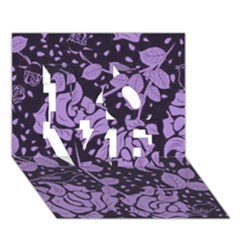Floral Wallpaper Purple LOVE 3D Greeting Card (7x5)