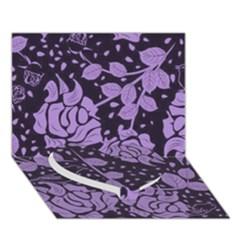 Floral Wallpaper Purple Heart Bottom 3D Greeting Card (7x5)