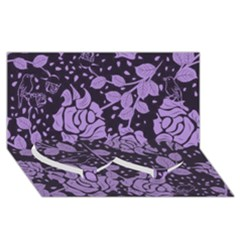 Floral Wallpaper Purple Twin Heart Bottom 3D Greeting Card (8x4)
