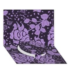 Floral Wallpaper Purple Circle Bottom 3d Greeting Card (7x5)