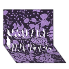 Floral Wallpaper Purple You Are Invited 3d Greeting Card (7x5)