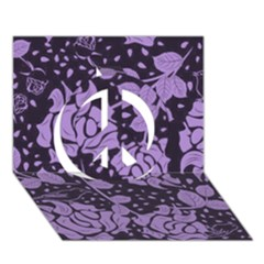 Floral Wallpaper Purple Peace Sign 3D Greeting Card (7x5)