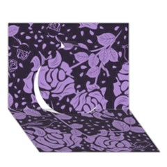 Floral Wallpaper Purple Circle 3D Greeting Card (7x5)