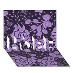 Floral Wallpaper Purple Hope 3d Greeting Card (7x5)